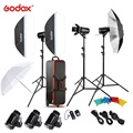 Original Godox E300 D Foto Studio Speedlite Beleuchtung Kit mit 300W Studio Blitzlicht Licht Stehen Softbox Scheune Tür Trigger-in Fotostudio-Zubehör aus Verbraucherelektronik bei