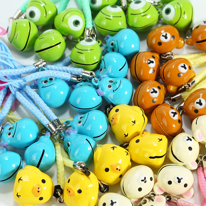 wholesale 100pcs kawaii mini rilakkuma bell charm phone pendant accessories gadget handbag decor keychain straps Free