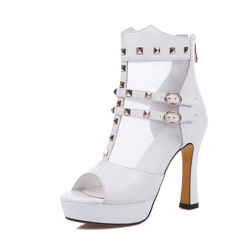 Cuir Talons Chaussures En Nouveaux Sexy Sandales D'été Karinluna Rivets De Du forme Femmes Plate Parti Hauts Véritable Blanc Femme nwv80ymNO