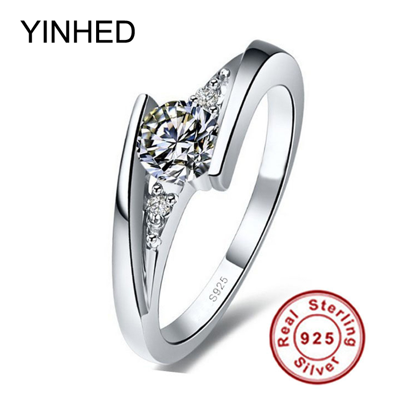 Send Silver Certificate YINHED Solid 925 Sterling Silver Ring Jewelry 0 5 Carat Cubic Zircon CZ