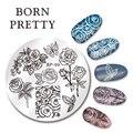 NACIDO PRETTY Nail Art Sello Plantilla de Diseño de La Flor de Mariposa 5.5 cm Ronda Manicura Del Clavo Que Estampa Placa de la Imagen BP-99