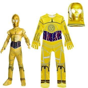 Kids Cosplay Costumes Boys Jumpsuits Star Wars Movie Robot Cosplay Children Festive Party Supplies Kids Robot C3-PO Streetwear