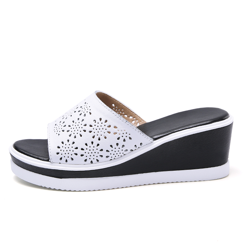 JZZDDOWN Women Leather Shoes Slip on Beach Sandals Slippers Ladies Cork Wedge Sandals Female Platform Sandals Shoes Woman Summer in High Heels from Shoes