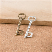 Hollow Out Love Heart Key Pendants Vintage Bronze Silver Tone Jewelry Charms DIY Finding Accessory Material Metal Alloy Charm