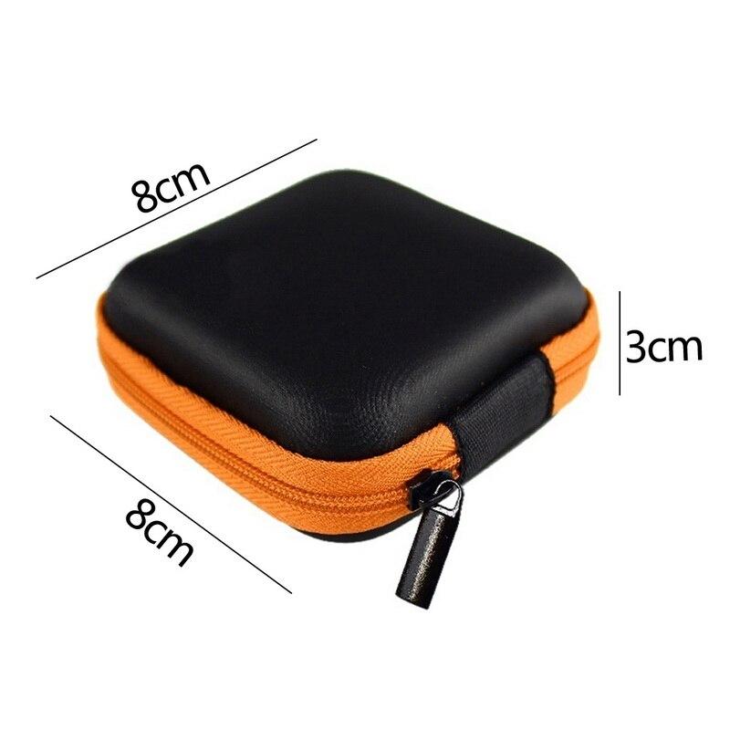 Чехол-контейнер для монет, наушников, защитная коробка для хранения, цветные наушники чехол для путешествий, сумка для хранения наушников, кабель для передачи данных, зарядное устройство - Цвет: orange Square 8x8cm