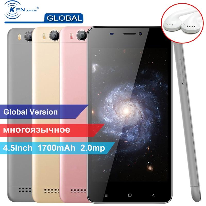 D'origine Kenxinda V6 4.5 pouce 1700 mah 1g RAM 8g ROM Android Smartphone 3g Quad Core Double cartes SIM Mobile Cellulaire Téléphones + Écouteurs