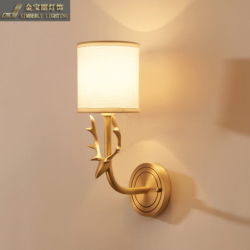 TUDA 38X13cm Free Shipping Copper Wall Lamp American Style Deer Head Wall Lamp For Living Room Bedroom Bedside Wall Lamp E27 deer head wall decal