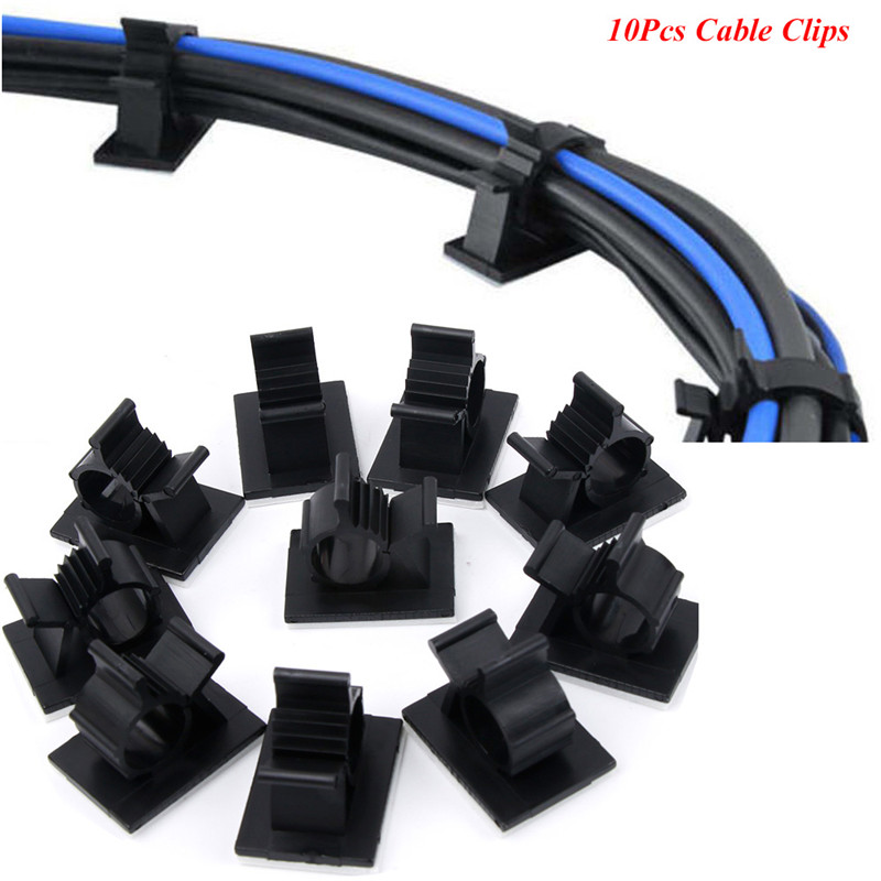 10Pcs/Set Cable Clips Adhesive Cord Management Wire Organizer Wire Holders 0.5 Clamp White cable winder Drop Shipping 2017 new 30pcs set car tie clips organizer drop adhesive clamp wire cord clip cable holder