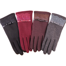 цена на Woman  Fashion Gloves Autumn Winter  Warmer Mitts Full Finger Mittens Women Cashmere Female Gloves Touch Screen BN01