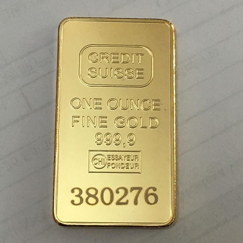 5 db nem mágneses Credit Suisse -érme 1 Oz 50 mm x 28 mm-es valódi aranyozott érmék, különböző lézeres számokkal