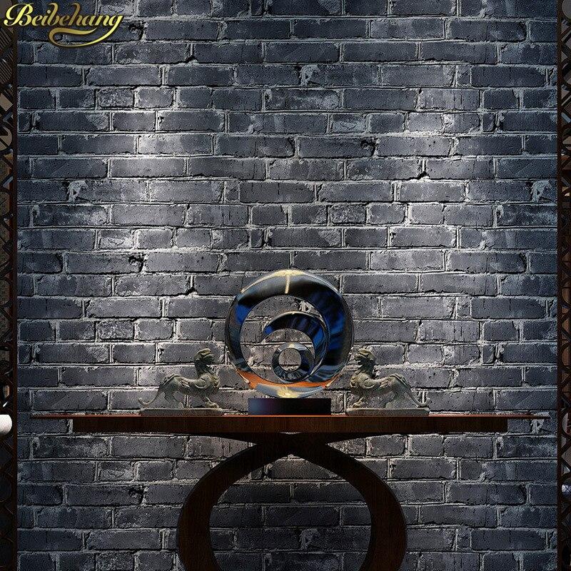 us 26 1 42 off beibehang papel de parede 3d black brick wallpaper roll vinyl 3d flooring pvc gray stone wall paper for living room decoration in