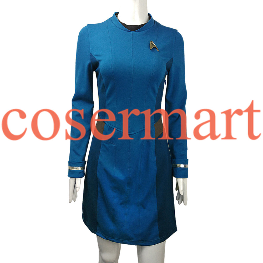 Star Trek Dress Star Trek Beyond Cosplay Costume Star Trek Blue Uniform Adult Women Halloween Cosplay Costume Free Badge