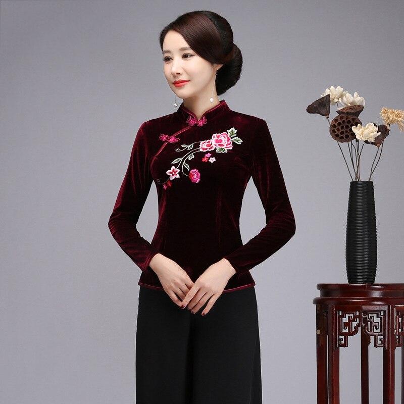 2019 nouveau broderie fleur vêtements élégant velours chaud mandarine col Blouse Style chinois femme à manches longues Tang vêtements