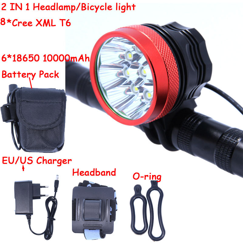 2 in 1 12000 Lumens 8 x CREE XM-L T6 LED Headlamp Headlight Bicycle Bike Light & 8.4v Rechargeable Battery Pack + Charger 2 in 1 20000lm 16 x xm l t6 led rechargeable bicycle light bike headlight headlamp head lamp 18650 battery pack charger