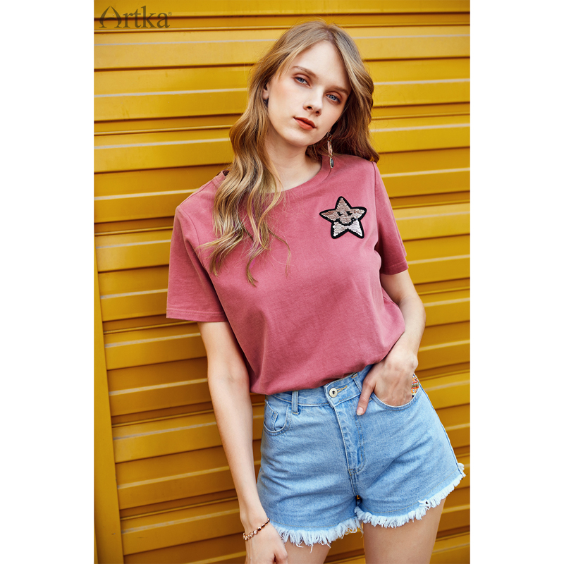 ARTKA New Summer Women Personality Variety Sequins Short Sleeve Loose Lady O neck Cotton Basic T shirt TA15184X in T Shirts from Women 39 s Clothing