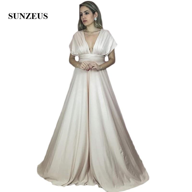 V Neck Champagne   Bridesmaid     Dresses   Cap Sleeve A-Line Pleats Long Maid of Honor   Dresses   demoiselle d'honneur SBD170