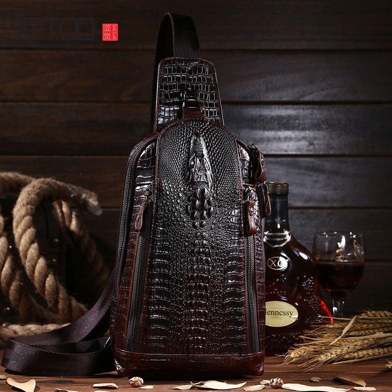 AETOO Crocodile pattern leather chest bag oil wax cowhide male bag leisure fashion Messenger bag