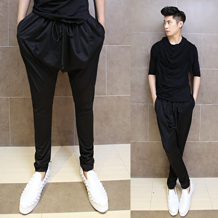 Buy 2017 Men Hanging Crotch Pants Casual Korean Fashion Personality Harem Pants