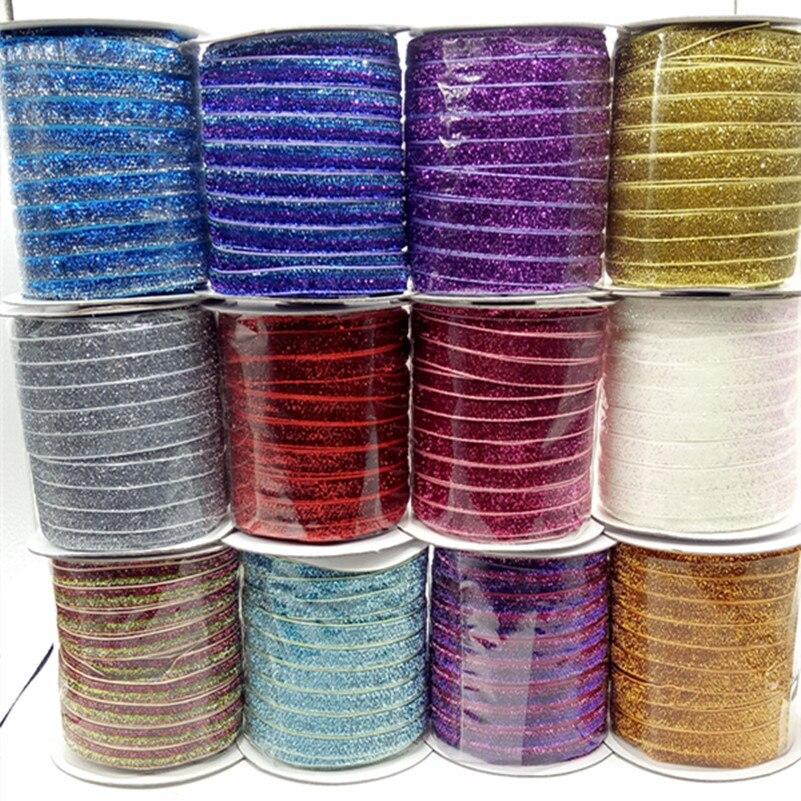 50 ярдов, 48 цветов, блестящая бархатная лента с металлическим блеском, зажимы для повязки на голову, бант, свадебное украшение, украшение для ...