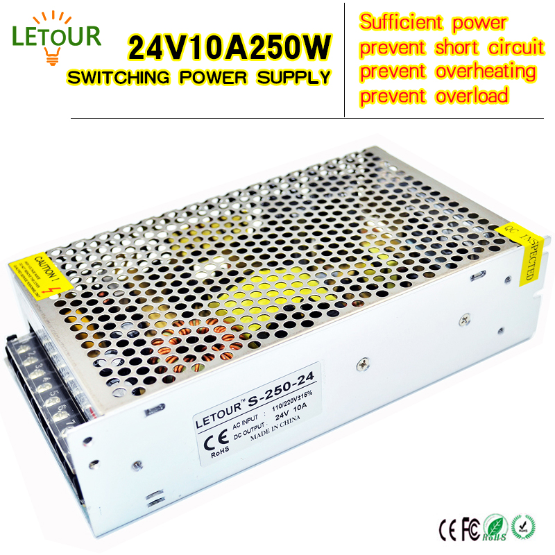 24V 10A Power Supply Adapter AC 96V-240V Transformer DC 24V 250W LED Driver AC-DC Switching Power Supply for LED Strip Motor led transformer 24v 60w ac dc power supply 110v 220v to 24v charger adapter for led strip led module light 3 year warranty