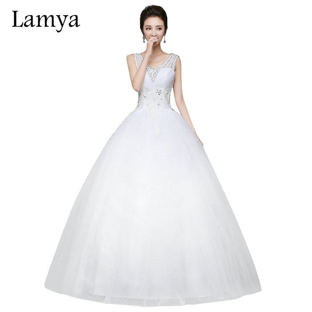 Lamya Sexy V Neck Crystal Wedding Dress 2017 Princess Style Bridal Gown Real Photo Dresses Lace