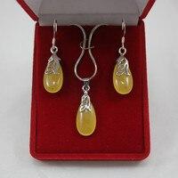 Hurtownie lady piękny żółty silver plated waterdrop wisiorek i kolczyki biżuteria