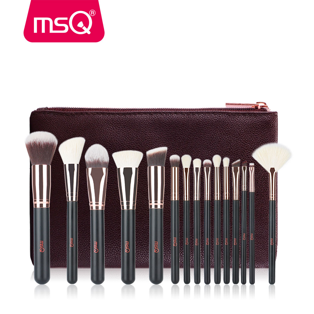 MSQ Makeup Brushes Set Pro 15pcs Rose Gold Make Up Brush Animal&Synthetic Hair Foundation Blusher Eye Tool With PU Leather Case msq professional 15pcs makeup brushes set soft synthetic hair natural wood handle with pu leather case for beauty fashion tool