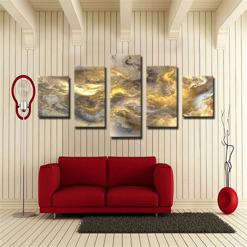 5 Pane Beautiful Colors Unreal Clouds The Family Decorates Print On The Canvas wall Art Picture Gift Unframed Poster and Prints