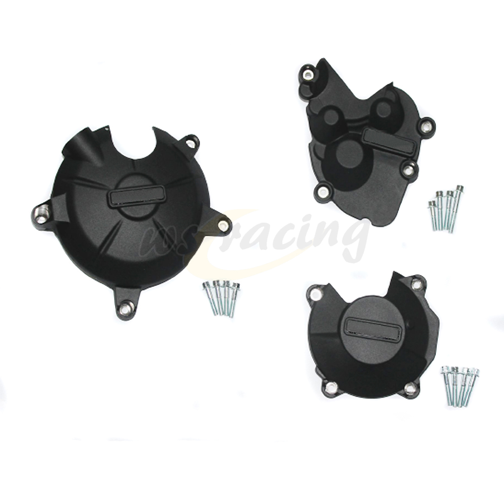 Motorcycle Black Engine Cover Protection Case Set Kit For KAWASAKI ZX6R ZX 6R 2009-2016 09 10 11 12 13 14 15 16 motorcycles engine cover protection case for kawasaki zx 6r 636 2009 2012 10 11 new model