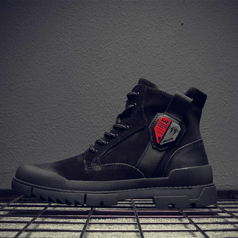 CHAISHOU erkek spor ayakkabı ayakkabı kış hakiki deri dantel-up yuvarlak kafa siyah düz rahat ayakkabılar CS-64