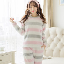 be05716418 Las mujeres de rayas traje de pijamas de franela de terciopelo de Coral  lindo dulce conjuntos de pijamas de Otoño de 2019 ropa d.