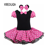 XREOUGA Dot Minnie Mouse Baby Gift Party Fancy Costume Cosplay Girls Ballet Tutu Dress Ear Headband