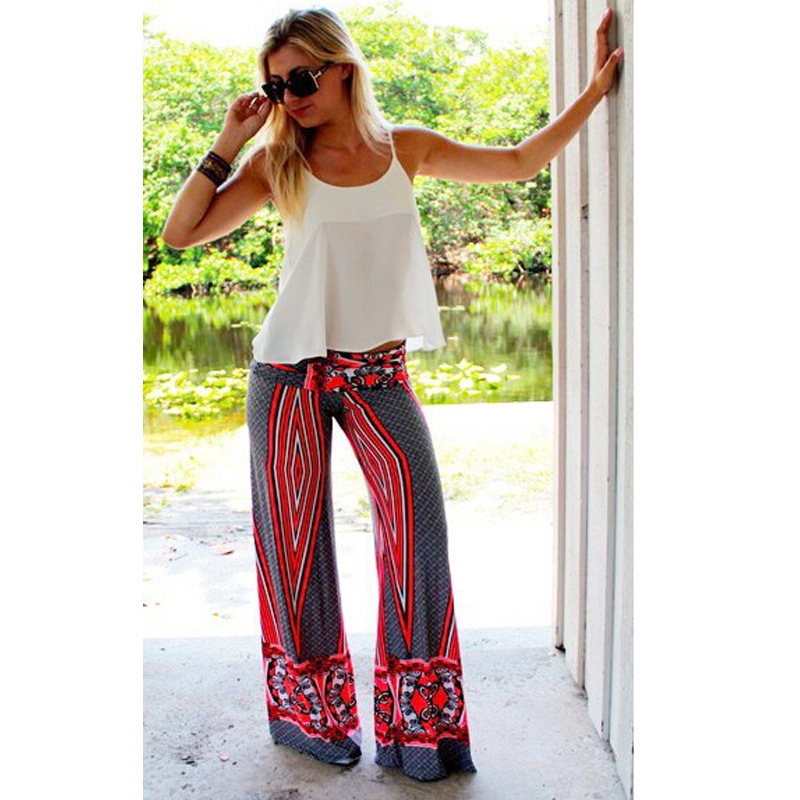 Plus Size 2018 Summer Women Print Flower Pattern Wide Leg Loose