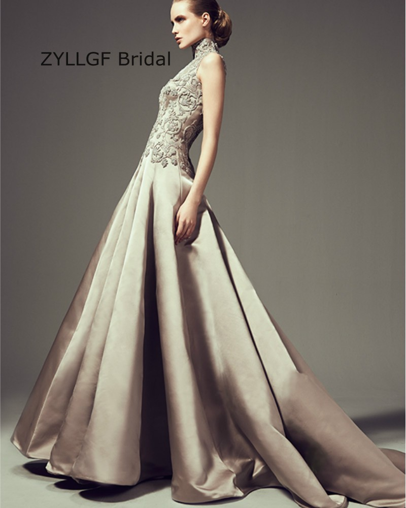 ZYLLGF Bridal Princess High Neck Long Evening Prom Dresses Satin ...