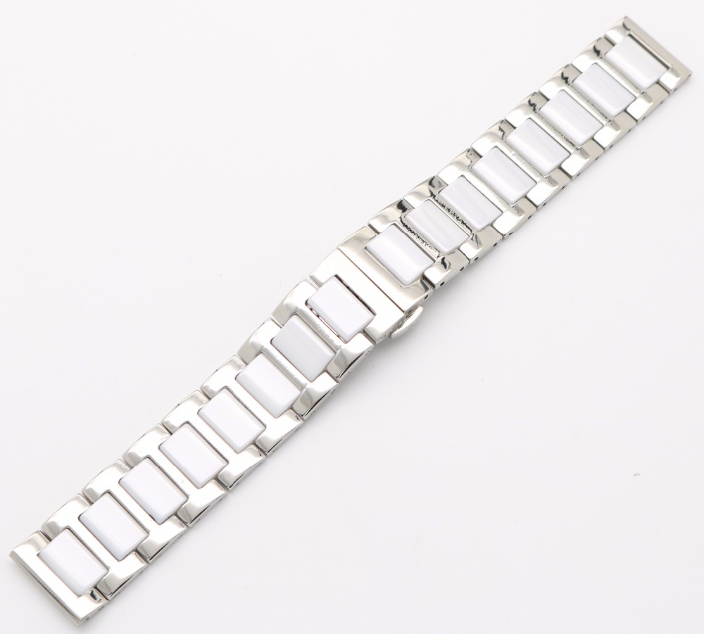 16 18 20mm Silber Massivstahl Uhrenarmband Gurt Armband Schwarz Weiß - Uhrenzubehör - Foto 4