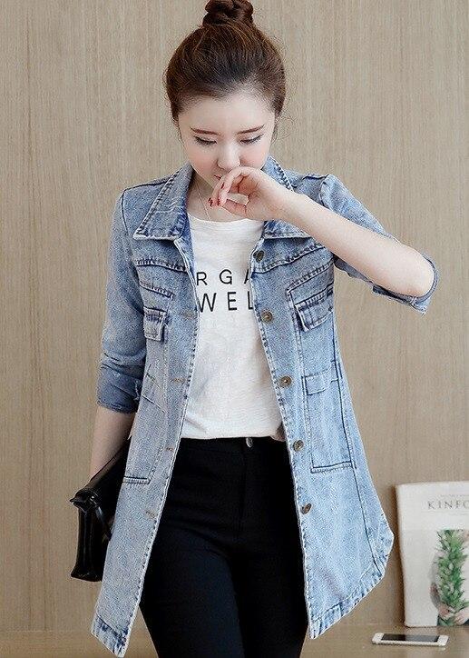 HTB1R1V2pXuWBuNjSszbq6AS7FXa6 Autumn Winter Korean Denim Jacket Women Slim Long Base Coat Women's Frayed Navy Blue Plus size Jeans Jackets Coats Cool 5XL A364