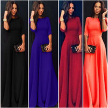 New Womens Long Chiffon Half Sleeve Evening Formal Party Ball Gown Maxi Dress