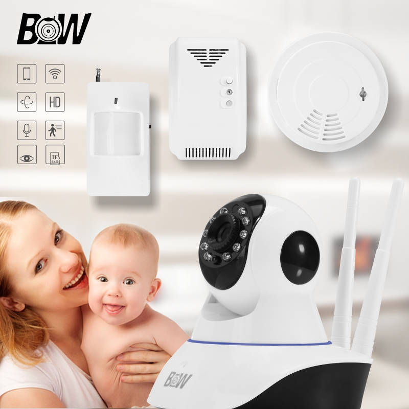Wireless Security Camera IP +PIR Motion Sensor/Smoke Detector/Gas Detector Indoor Alarm Baby Monitor Wifi Camera BWIPC02D 720p hd ip camera security door sensor infrared motion sensor smoke gas detector wifi camera monitor equipment alarm bw13b