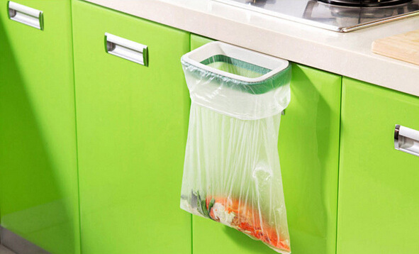 1PC Storage Holder Rack Kitchen Cupboard Cabinet Door Hanging Garbage Rubbish Bag Storage Trash Rack Kitchen Orgnizing OK 0260