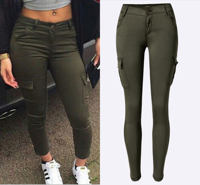 Army Green Jeans Women 4