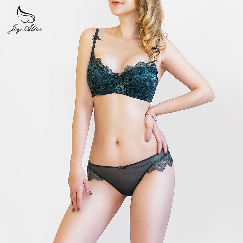 2017 New Arrival Girls Underwear Set Push-up Thin Cotton <font><b>Half</b></font> <font><b>Cup</b></font> <font><b>Lace</b></font> Bra And Panty Set Women Lingerie Big Size Bra set