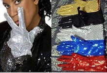 Adult Acting Michael Jackson Shinning Gloves MJ Sequins Performing Gloves in Stage Gloves