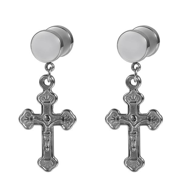 7cf38c0c0 BONISKISS Unisex Drop Dangle Earrings With Jesus Cross Screw Stud Stainless  Steel Earring for Men Women