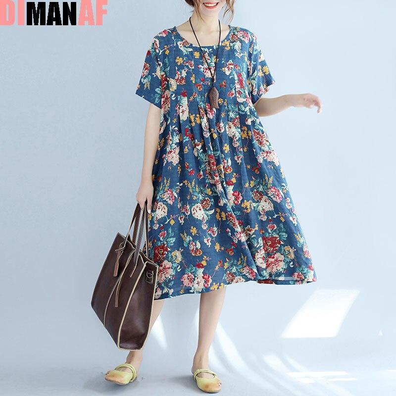 DIMANAF Plus Size Summer Dress Patchwork Women Floral Linen Female Dress Casual Big Size 2017 New Vintage Spliced Floral Dresses