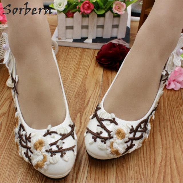 0714b1d8b Sorbern white Plum Blossom bridal Shoes women White Wedding Shoes Flowers  Small Heels Comfortable Bridal Shoes Pumps New