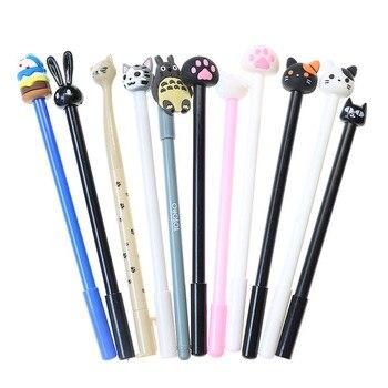 4pcs Cute Kawaii Gel Pens Chinchillas Jingle Cat Black White Pen Various Styles Children Student Gifts Stationery