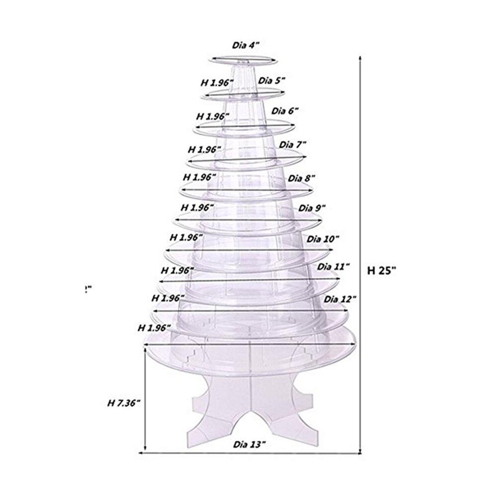 Ev ve Bahçe'ten Standlar'de 10 katlı Yuvarlak Macaron Kulesi Kek Standı Acıbadem Kurabiyesi Kek vitrin rafı Tutucu Doğum Günü Partisi Düğün Dekorasyon Şeffaf'da  Grup 2