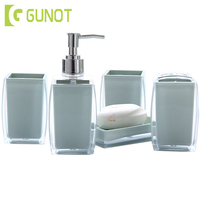 GUNOT 5Pcs/Set Bathroom Washing Set Simple Acrylic Solid Color Suit Include Soap Dispenser/Toothbrush Holder/Tumbler/Soap Dish