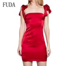 FUDA Summer Satin Dress Women Sexy Bow Spaghetti Strap Backless Slim Bodycon Femme Party Night Club Long Silk Slip