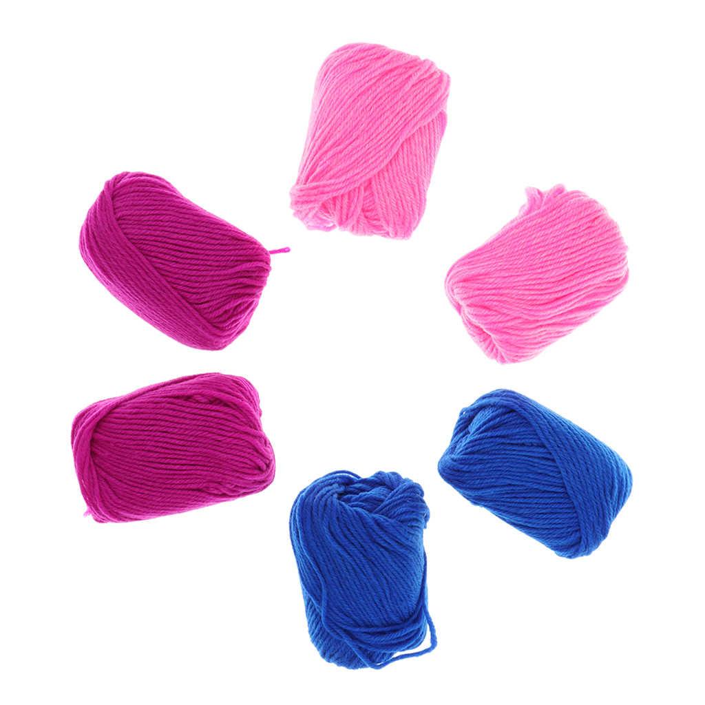 6 Cuộn/Gói Sợi Len Cho Đan Máy Tự Làm Khăn Choàng Nón Sock Thủ Công Thợ Dệt Knitter Vai Trò Giả Trò Chơi Đồ Chơi cô Gái Trẻ Em Quà Tặng